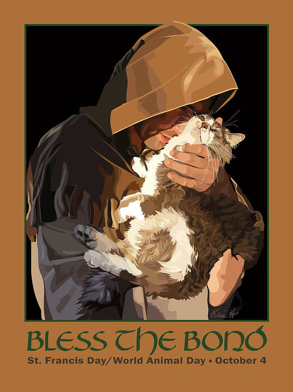 Animal Art Print featuring the digital art St. Francis With Cat by Kris Hackleman