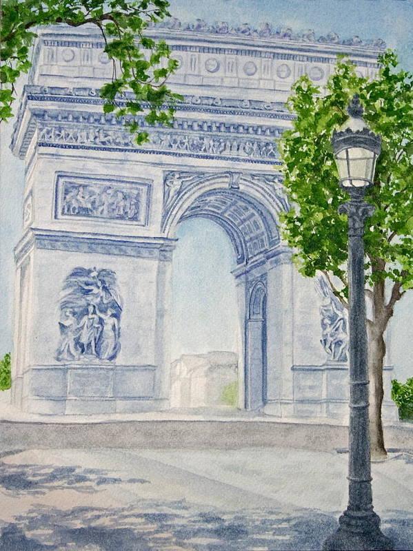 Architecture Art Print featuring the painting Arc De Triomphe by Monika Degan