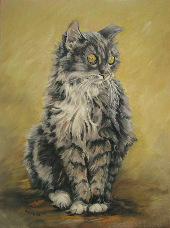 Cat Art Print featuring the painting Barnhardt's Cat by Cheryl Pass