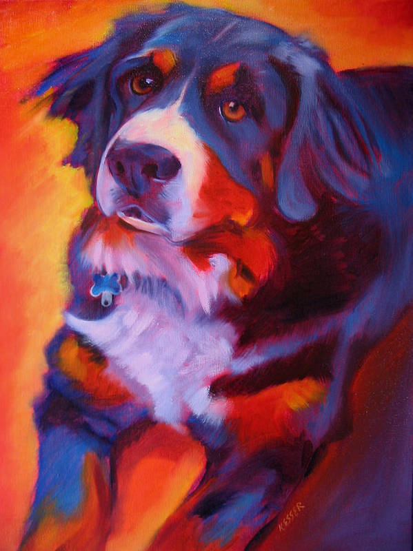 Purebreed Dog Art Print featuring the painting Bernese Mountain Dog by Kaytee Esser