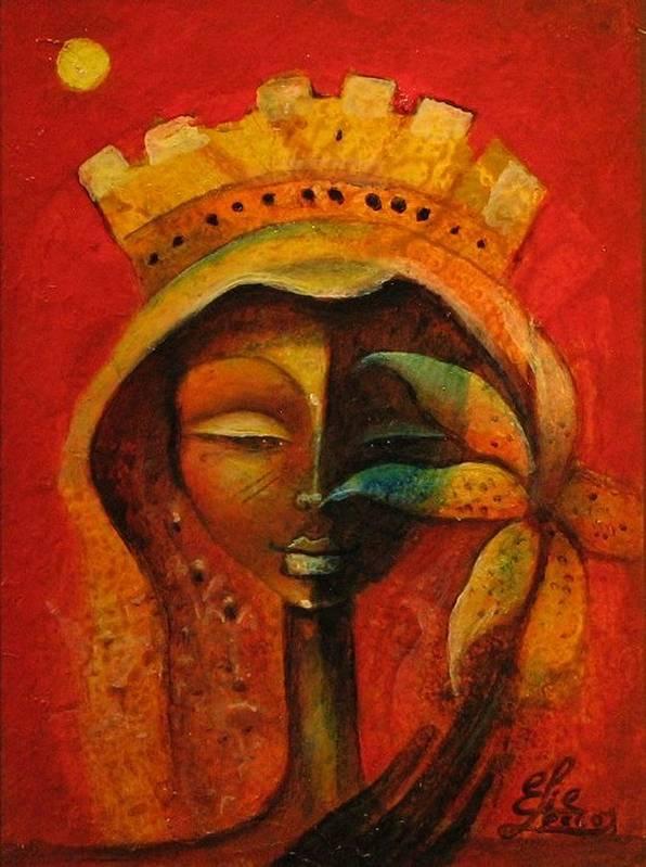 Haitian Art Art Print featuring the painting Black Flower Queen by Elie Lescot