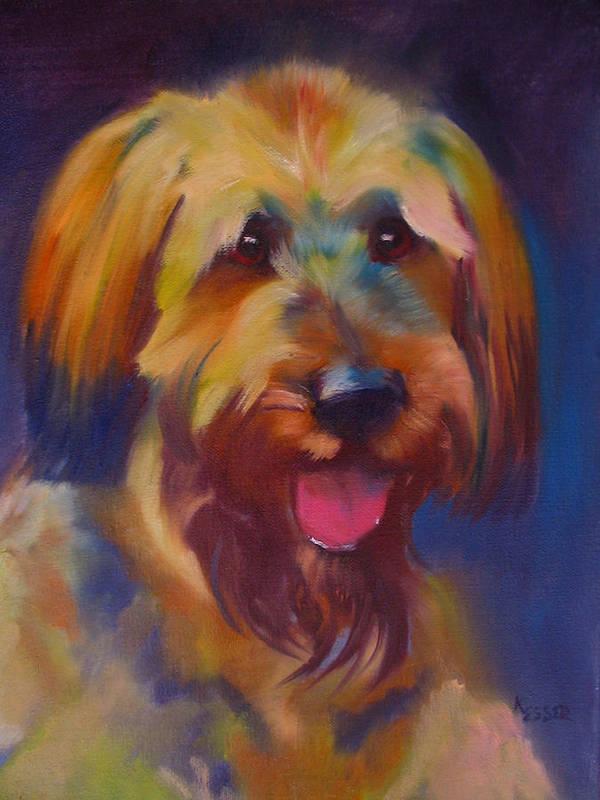 Briard Puppy Art Print featuring the painting Briard Puppy by Kaytee Esser