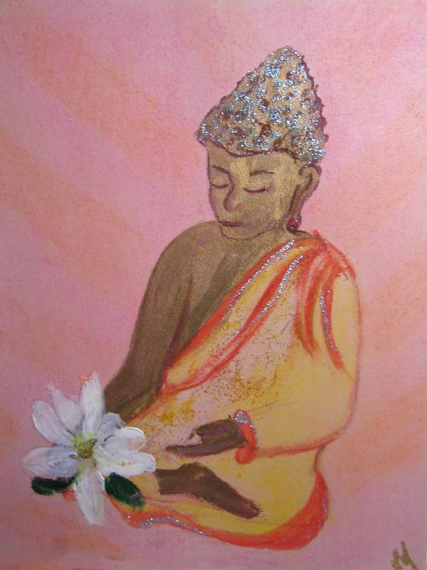 Buddha Art Print featuring the painting Buddha And The Lotus Blossom by Michela Akers