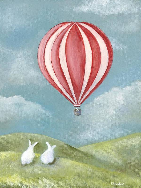 Bunny Art Print featuring the painting Bun Voyage by Kimberly Hodge