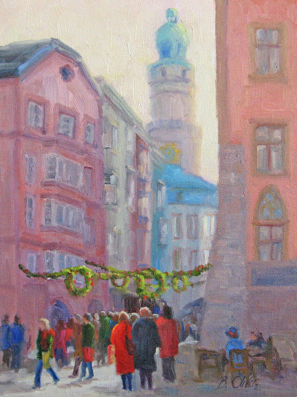 Street Scene Art Print featuring the painting Christmas Shopping - Innsbruck by Bunny Oliver