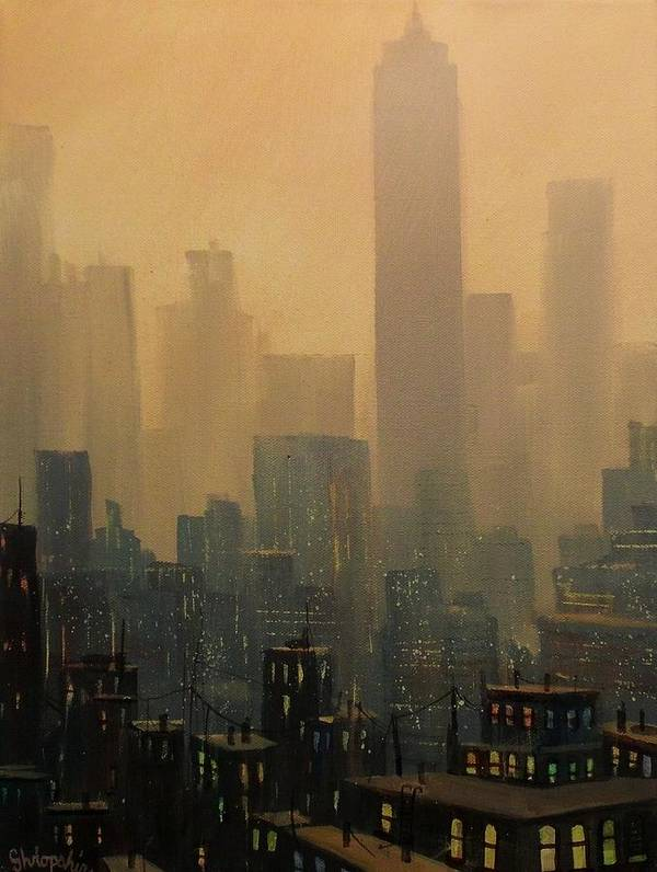 Chicago Art Print featuring the painting City Haze by Tom Shropshire