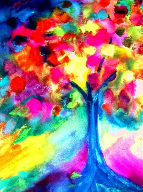 Landscape Art Print featuring the painting Colorful Tree by Maritza Bermudez