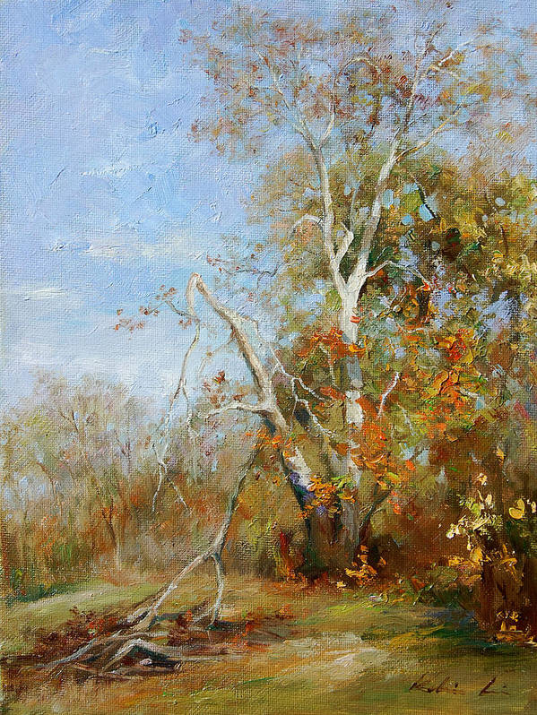 Landscape Art Print featuring the painting Falling Branch by Kelvin Lei