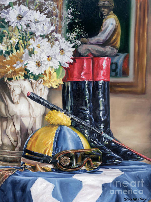 Derby Art Print featuring the painting Jockey Still Life by Thomas Allen Pauly