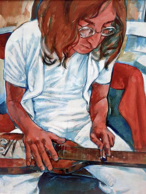 John Lennon Portrait Beatles Music Musician Rock Art Print featuring the painting John by Scott Waters