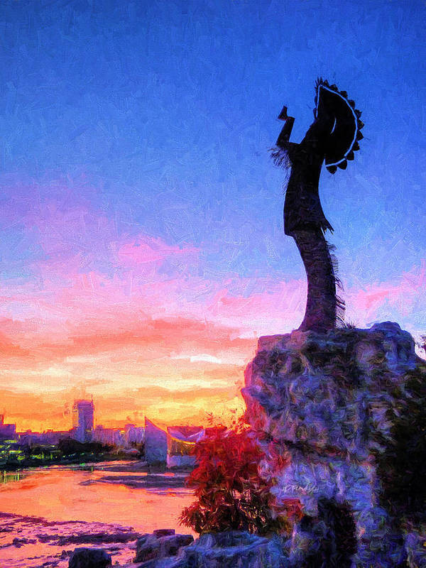 Keeper Of The Plains Art Print featuring the photograph Keeper Of The Plains by JC Findley