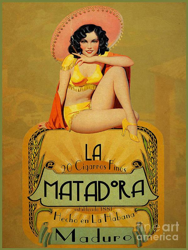 Vintage Art Print featuring the painting la Matadora by Cinema Photography