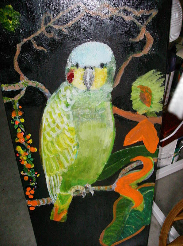 Bird Green Amazon Red Art Print featuring the painting Lacey Jewel Bird by Anne-Elizabeth Whiteway