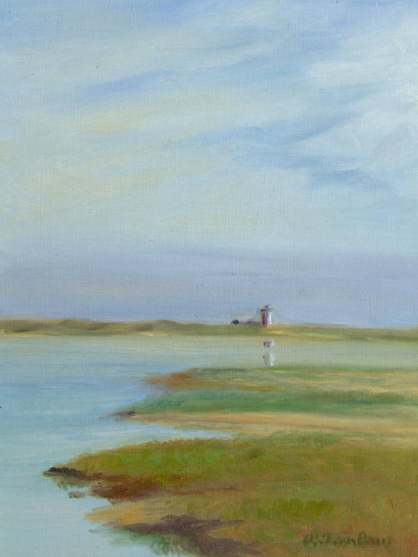 Landscape Art Print featuring the painting Lighthouse Across The Ptown Moors by Phyllis Tarlow