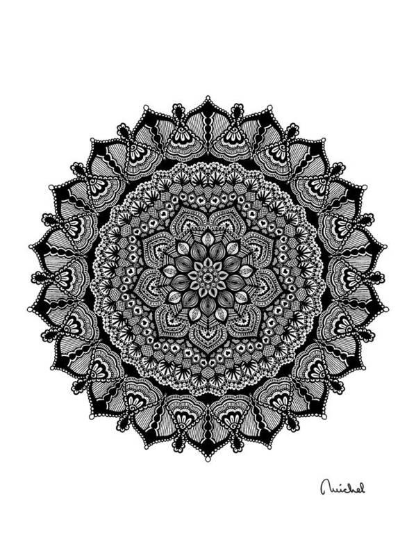 Mandala Art Print featuring the digital art Mandala #1 by Michel