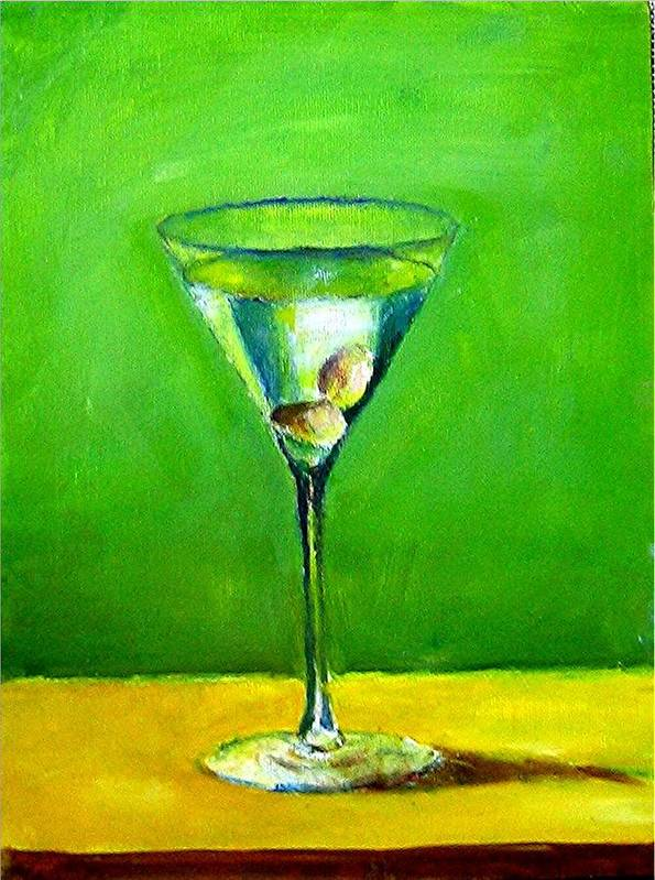 Still Life Drinks Food And Beverage Martini Art Print featuring the painting Martini by Udi Peled