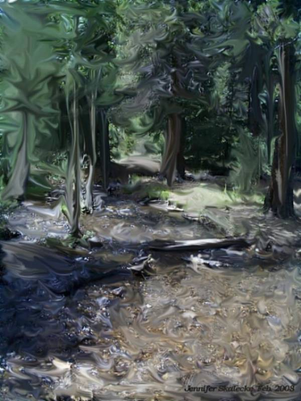 Landscape Art Print featuring the digital art Mysterious Woods by Jennifer Skalecke
