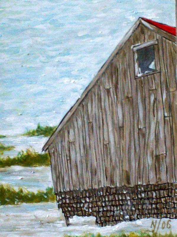 Barn Art Print featuring the painting Old Barn In Winter by Norman F Jackson