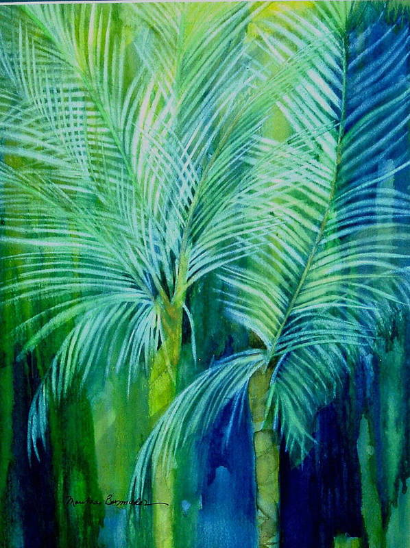 Landscape Art Print featuring the painting Palm Trees by Maritza Bermudez