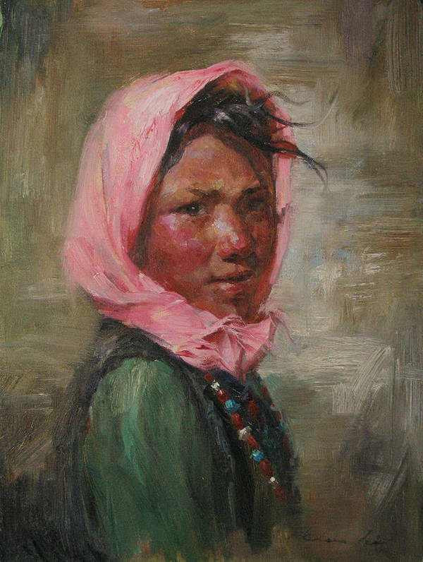 Tibet Art Print featuring the painting Pink Scarf by Kelvin Lei