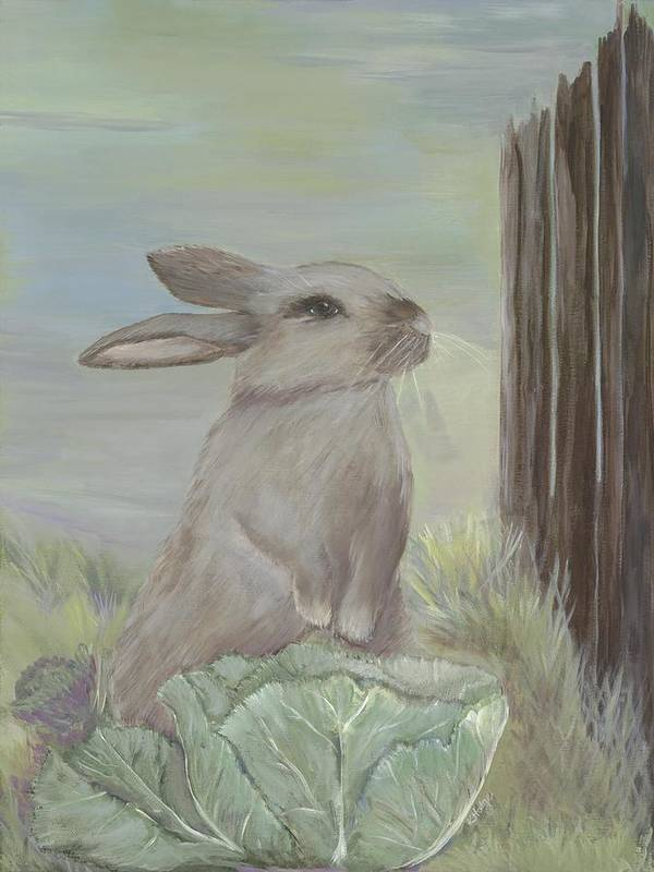 Rabbit Art Print featuring the painting Rebekah's Garden by Kimberly Hodge