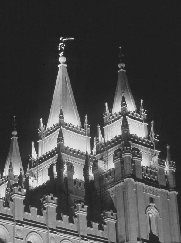 Lds Art Print featuring the photograph Salt Lake Temple Night by Troy Montemayor
