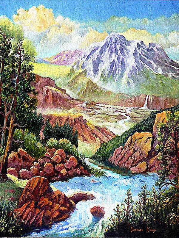 Colorado Mountains Falls Snow Western Southwestern Landscapes Giclee Prints Rocks Art Print featuring the mixed media Spring Thaw High In The Rockies. by Donn Kay
