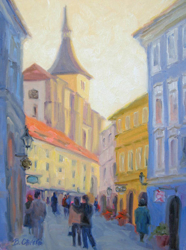 Prague Art Print featuring the painting Sunday Stroll - Prague by Bunny Oliver