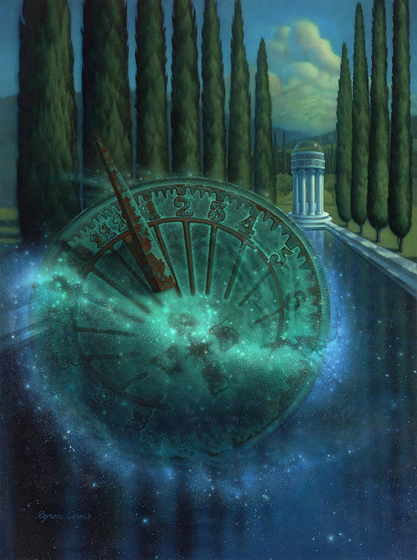 Sundial Art Print featuring the painting Sundial Of Antiquity by Brigit Byron Coons