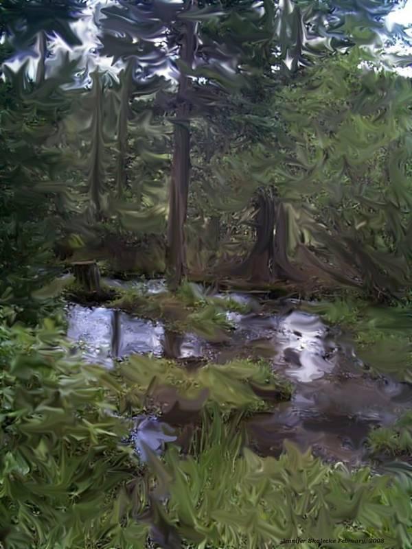Landscape Art Print featuring the digital art Sunny Woods by Jennifer Skalecke