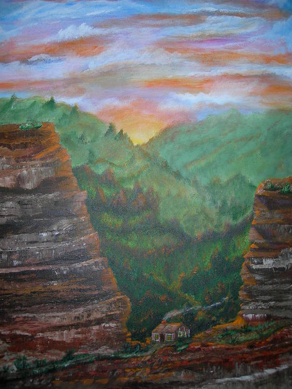Landscape Art Print featuring the painting The End Of The Journey by Jack Hampton
