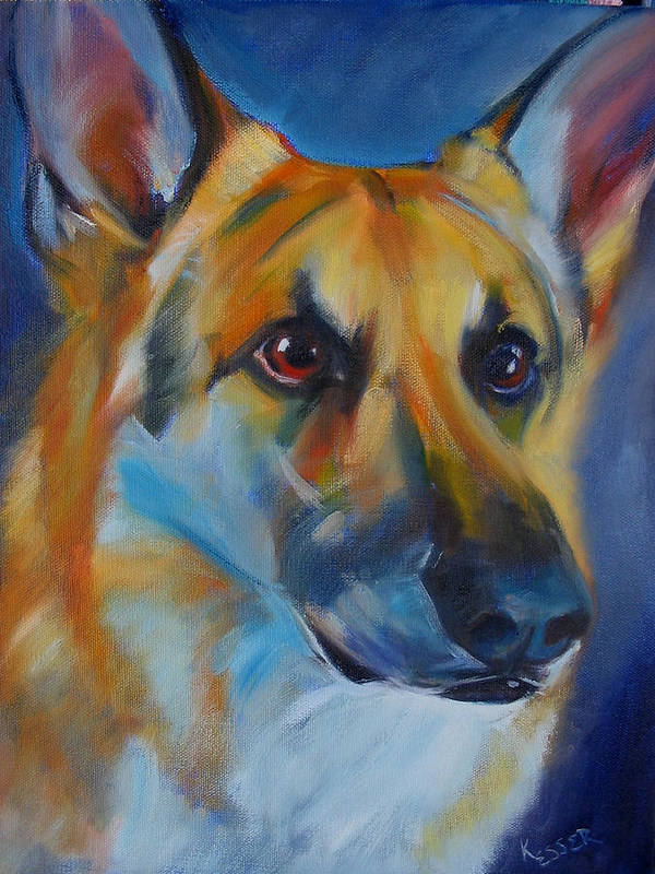 Shepherd Art Print featuring the painting Trooper by Kaytee Esser