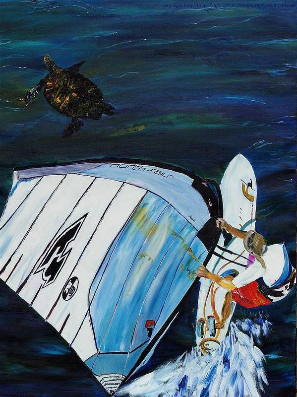 Windsrfing Art Print featuring the painting Windsurfing And Sea Turtle by Gregory Allen Page