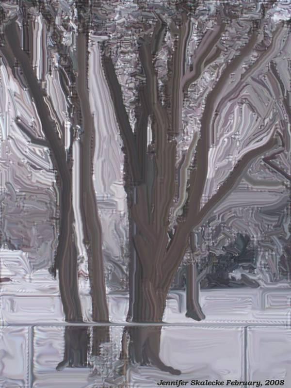 Landscape Art Print featuring the digital art Winter Trees by Jennifer Skalecke