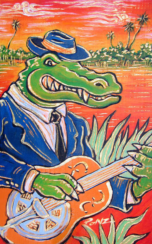 Blues Art Print featuring the painting Gator Boogie by Robert Ponzio