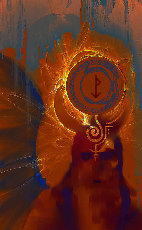 Spiritual Art Print featuring the digital art Blazzing Wisdom Through Odins Essence by Stephen Lucas