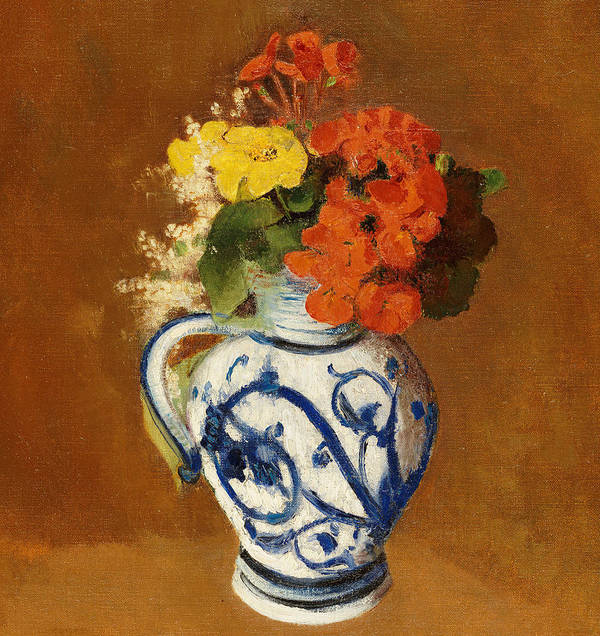 Still Life; Flower Art Print featuring the painting Geraniums And Other Flowers In A Stoneware Vase by Odilon Redon
