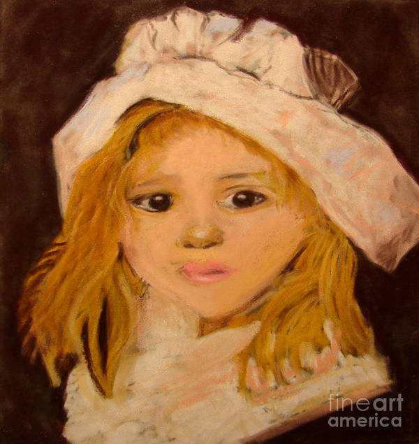 Pastel Portrait Art Print featuring the pastel Little Girl by Joseph Hawkins