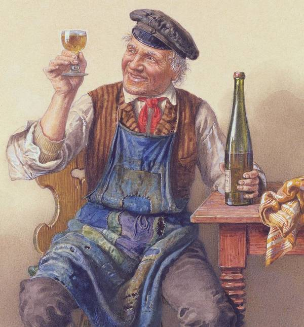 Male; Old Man; Toast; Wine; Bottle; Glass; Cap; Apron; Seated; Jolly; Merry Print featuring the painting A Good Vintage by Peter Kraemer