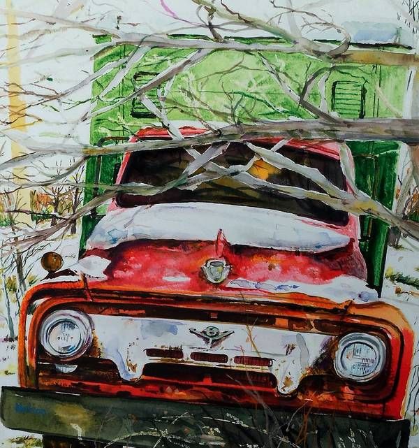 Truck Art Print featuring the painting Abandoned Delivery by Scott Nelson