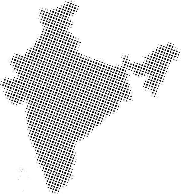 Dotted Vector Map Of India Art Print by Poligrafistka