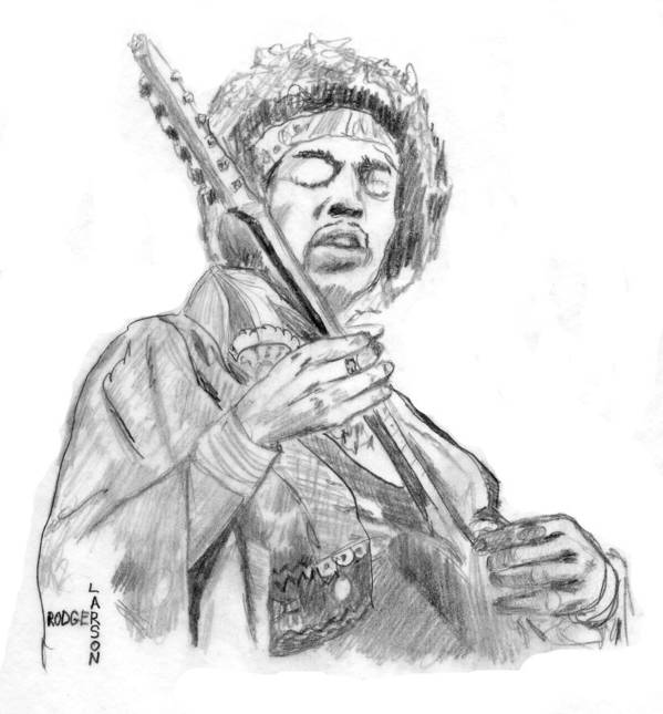 Jimi Art Print Featuring The Drawing Hendrix Plays Guitar By Rodger Larson