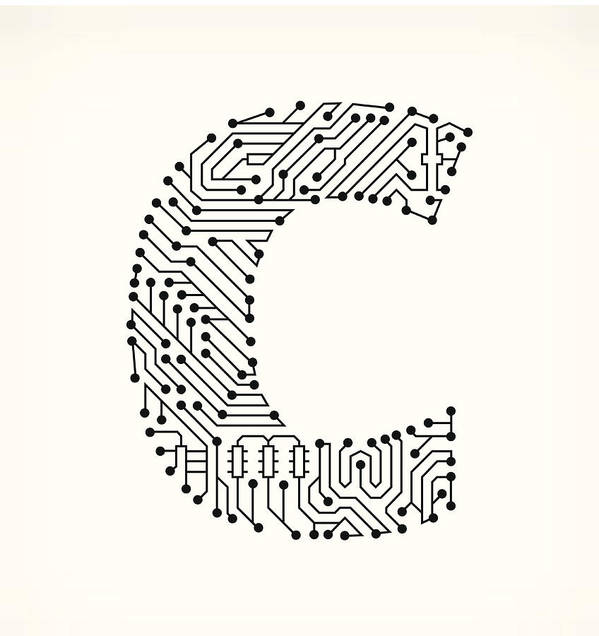 Letter C Circuit Board On White Background Art Print By Bubaone