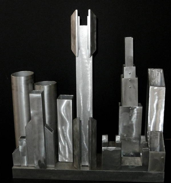 Found Metal Art Print featuring the sculpture Night City 2020 by April Davis