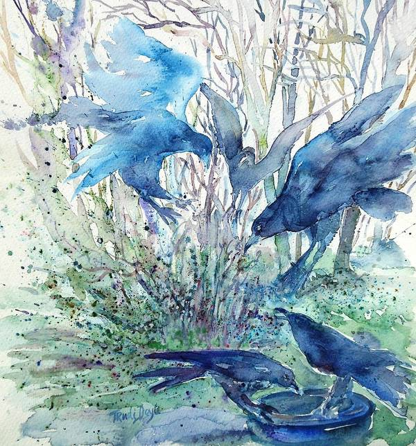 Birds Art Print featuring the painting Ravens Wood by Trudi Doyle