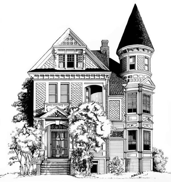 Pen And Ink Art Print featuring the drawing San Francisco Victorian by Mary Palmer