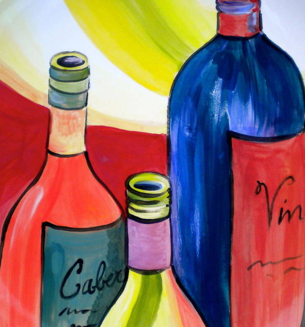 More Bottles Art Print featuring the painting Threesome by Debi Starr