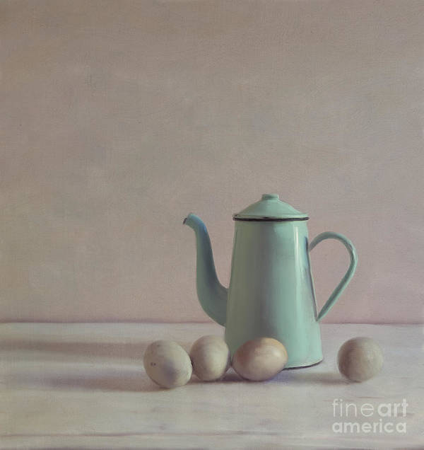 Duck Eggs Print featuring the mixed media Duck Eggs And Coffee Pot by Paul Grand