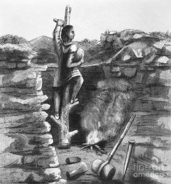 1854 Art Print featuring the photograph Great Lakes: Ancient Miner by Granger