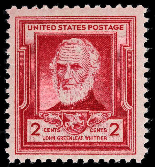 John Greenleaf Whittier Postage Stamp Art Print featuring the photograph John Greenleaf Whittier Postage Stamp by James Hill